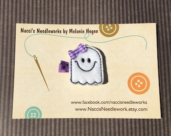 Friendly Ghost Hair Clip- Halloween Hair Clip- Felt Hair Clips