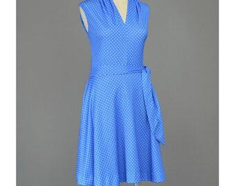 Vintage 1960s Dress Blue Polka Dot Dress 60s Dress Mod Mini Dress V Neck Dress Fit and Flare Dress Full Skirt Dress Summer Sundress M
