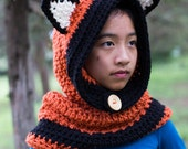 Fox Cowl | Hooded Cowl | Crochet Fox Cowl |Animal Hat | Fox Hat | chunky button up scarf | hood for toddler, child, adult Boys and girls
