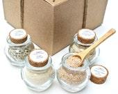 Sea Salt Sampler- 4 Gourmet Sea Salt Blends in Mini Honey Pot Jar with Cork, Finishing Salt, Seasoning Gift Set, Boxed Sea Salt Sampler