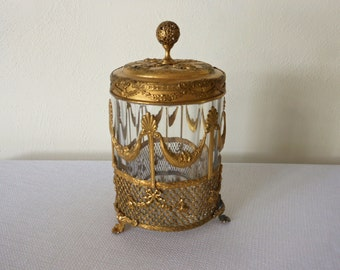 Antique Art Nouveau Filigree Brass and Glass Covered Jar