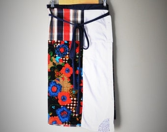 Fall/Winter Wrap Skirt made from Upcycled Textiles and Wool with Sashiko Embroidery/Womens Handmade Wrap
