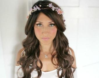 Lavender, Bridesmaide flower Crown, Purple, bridal headpiece, wedding flower crown, rustic head wreath, wedding headband, bridal hair