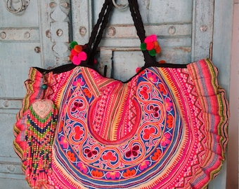 Large Vintage Hmong carryall tote bag ethnic halfmoon classic handmade Tribal embroidery pompom