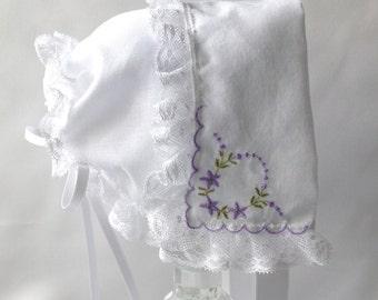 Little Voilets Handkerchief Baby Bonnet, Hanky Bonnet, Handmade, Heirloom Baby Bonnet, To fit up to 6 months, Ready  to Ship