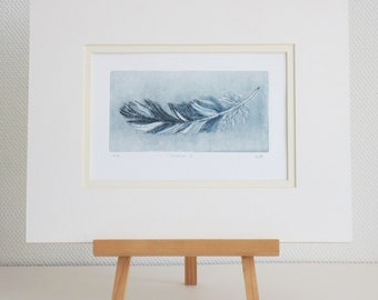 Feather dry point etching original print in grey artist's proof
