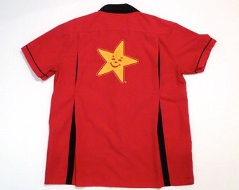 Carls Jr Bowling Shirt Vintage Yellow Happy Star Camp Shirt Rockabilly Halloween Costume Gag Gift Black and Red Mens Shirt XL Extra Large