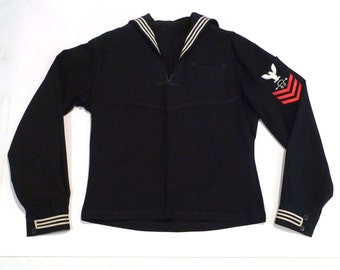 Sailor Shirt USS Dallas Vintage US Navy Top Nuclear Submarine Eagle Patch Red Bars White Piping Military Nautical Uniform Texas 1980s