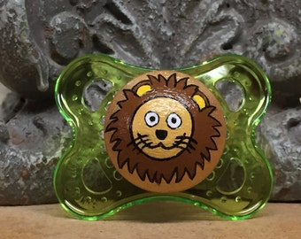 Ligera the Lion Custom Hand Painted Pacifier by PiquantDesigns