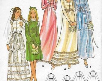 Butterick 6469 Misses' 70s High Waist Bridal Dress Sewing Pattern Bust 34