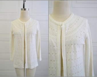 1960s Sweater Bee Cream Cardigan Sweater