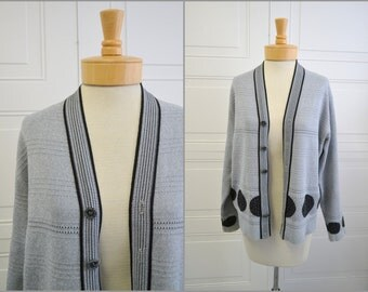 1960s Gray and Black Dot Cardigan Sweater