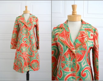 1960s Oscar de la Renta Boutique Paisley Brocade Coat/Dress