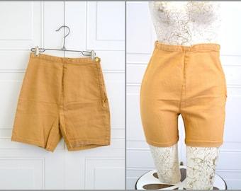 1960s Camel Cotton Denim Shorts