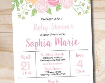 Modern Floral Baby Shower Invitation Spring Baby Shower Invitation - Printable digital file or printed file