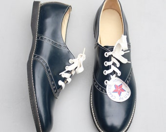 vintage 50s ladies saddle oxford shoes - deadstock with tags / 50s navy blue oxfords - 1950s sock hop costume / marked ladies 12 M