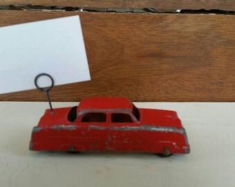 Valentine Card vintage,Ford photo holder,Vintage card holder,Tootsietoy red car photo holder