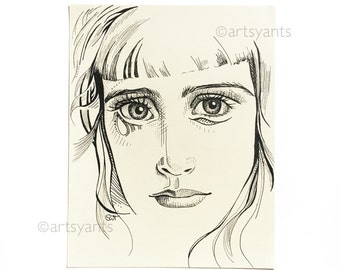 original drawing sketch illustration - portrait of a woman - actual sketchbook page - 8x10 inches