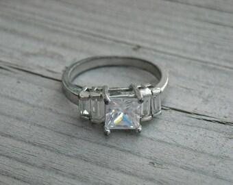 Vintage Imitation Faux Diamond Ring Size 7 Princess Cut Silver Diamond Ring Square Diamond Multi Diamond Ring Wedding Ring Engagement Ring