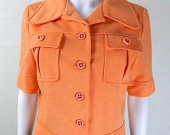 Original 1960s Vintage Bright Orange Cropped Jacket UK Size 10/12 Mod Sixties