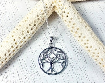 Tree of Life Sterling Silver Necklace, Tree of Life Necklace, Sterling Silver Tree of Life Necklace, Tree of Life Pendant Necklace