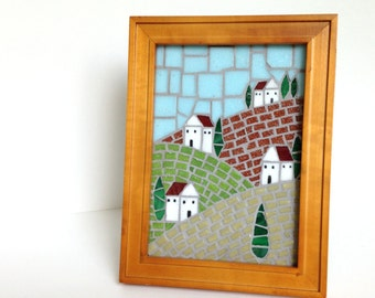 Houses and Hills mosaic Landscape, Framed Mosaic Artwork 5x7