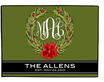 Personalized Christmas wreath Welcome Mat with  Monogram/ Last Name, Custom Door Mat Monogrammed Doormat, Holiday Welcome Mat