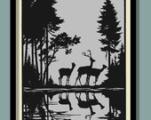 Woodland Deer Poster . Black on Grey Silhouette , Large A2 ( 40 x 60 cm ) Print