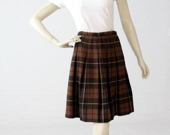 1960s plaid skirt, vintage pleated wool skirt by Bobbie Brooks