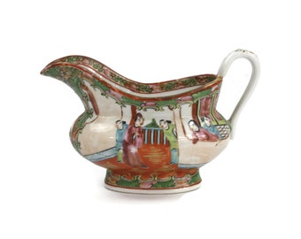 Rose Medallion Sauce Boat - Antique Sauce Boat, Chinese Sauce Boat, Hand Painted, Creamer, Rare, Made in China, c.1920s