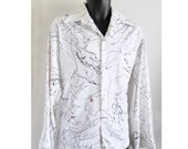 "Rare ""Touch of Class""  70's Disco shirt with lady's face / polyester / white / wedding /L"
