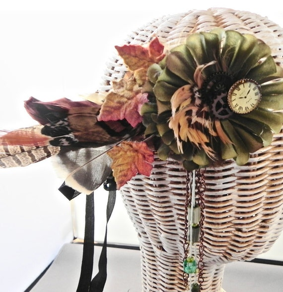 Feathers and Steampunk, Victorian/Edwardian Feathered Crown, Autumnal Equinox Headband, Woodland  Wreath