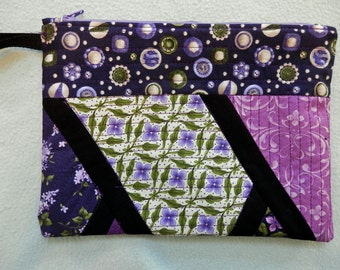 Wristlet Pouch Bag Cotton Quilted OOAK Handmade Lined Zipper Closure Purple and Green