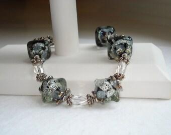 SALE ~ Crystal Night Lampwork, Rock Crystals, Bali Silver Bracelet