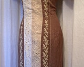 Vintage 1950s Edith Flagg linen hourglass wiggle dress brown and embrodered lace XL rockabilly Viva Goodwood