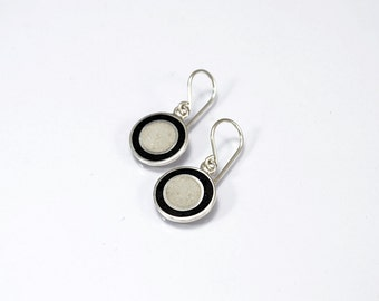 Sterling Silver Earrings, Black and White, Circles, Modern, Contemporary
