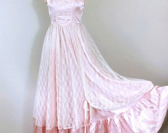 XS Candy Jones Pink Lace Prom Party Dress, Full dress,  Victorian, Bustier dress, Vintage 80's ,