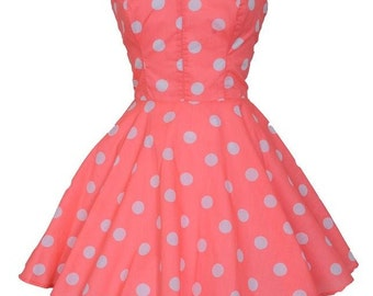 ON SALE Pin-Up Coral Polka Dot Prom Party Dress