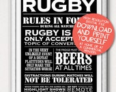 Posters Rugby House Rules Typographic Printable Father's Day Gifts
