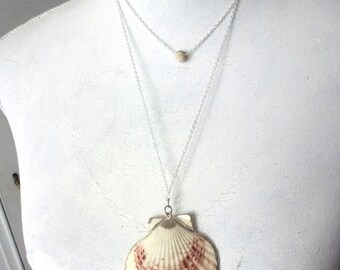 layered silver necklace- ball necklace - shell necklace- beach style bohemian women- hippie coastal style- nautical necklace- delicate jewel