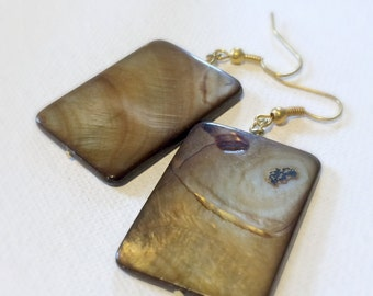 Large Brown Shell Earrings on Gold-Plated Earwires, Rectangle Shell Jewelry, Natural Shell Beads, Simple Jewelry, Modern Earrings