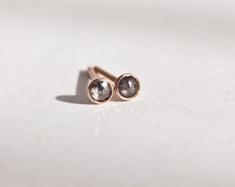Ready to ship 3mm conflict free rose cut white diamond earrings