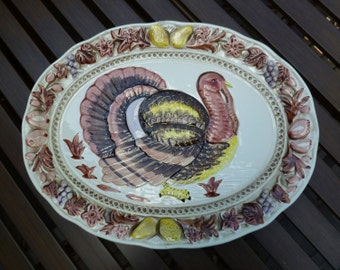 Turkey Platter, Large. Hand Painted, Embossed. Vintage 1960s. Made in Japan. Possible Lefton. Cottage, Farmhouse, Thanksgiving, Fall Decor.