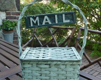 Mail Basket, Woven Wood. Mail Sign. Vintage 1940s. Painted Green. Mailbox, Mail Box. Cottage, Farmhouse, Cabin, Beach Lake House Decor.