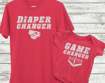 New dad gift, Wrestling shirt, matching baby and dad outfit, Game changer diaper changer, father son matching shirts, gift for wrestler dad