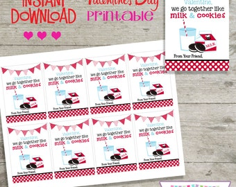 Valentine Milk and Cookies - Printable Valentine's Day Cards - INSTANT DOWNLOAD