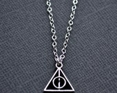 Small Silver Deathly Hallows Symbol . Necklace
