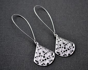 Silver Filigree Teardrops . Long Kidney Earwires . Earrings . Adele Collection