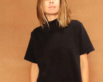 vintage MOCK TURTLENECK 90s BLACK t-shirt top mid 90s vintage shirt