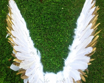 Gold and White  Fairy Angel Bird Wings